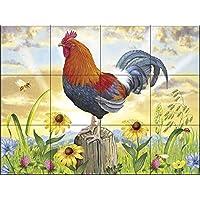 Ceramic Tile Mural - Gallo en el amanecer por Rosiland Salomón - salpicaduras de la cocina / baño de ducha
