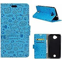 MOONCASE Acer Jade Prime Funda, Carcasa Cuero Pu Cartera Case con pata de Cabra para Acer Liquid Jade Primo (5.5 pulgada) Azul
