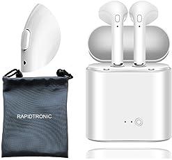 Auricolari Bluetooth, rapidtronic Stereo Cuffie Wireless con microfono mani libere, per sicurezza guida, corsa, Sport, compatibile con Wileyfox LG iPhone Samsung Nokia Smartphone e tabelle