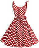 bbonlinedress 1950er Vintage Polka Dots Pinup Retro Rockabilly Kleid Cocktailkleider Red White Big Dot XL