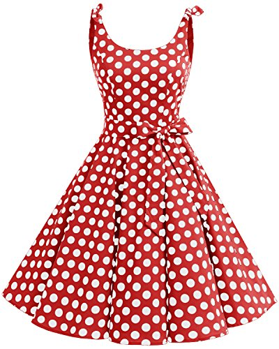 bbonlinedress 1950er Vintage Polka Dots Pinup Retro Rockabilly Kleid Cocktailkleider Red White Big Dot - 1950 Kostüm Frauen