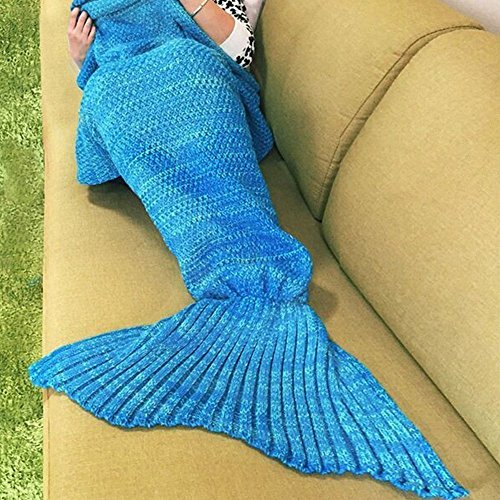 Le-Dafei Handgemachte gestrickte Mermaid Schwanz Blanket Mermaid Decke Muster Decke Kinder und Erwachsene Stil Meerjungfrau Schwanz Schlafsack 180cm*90cm (blau)