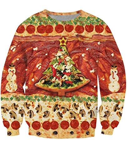(Uideazone Männer Frauen gedruckt Pizza Baum Weihnachten Pullover Shirt Hässliche X-mas Sweatshirts,Asia M= EU S)