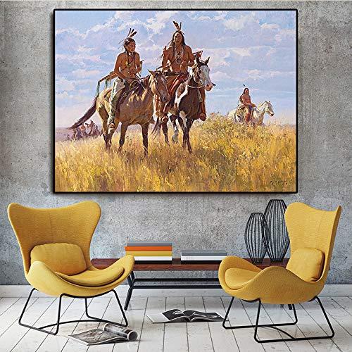 RTCKF Manifesti e Stampe Indiani sulla Tela dei murali scandinavi nel Soggiorno del Cavallo Ritratto Dipinto ad Olio (Senza Cornice) A6 70x100cm