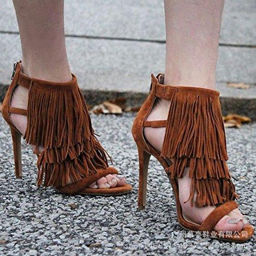 Rom-Art-hohe verfolgte Sandelholz-Troddel-high-heeled Sandelholze Frauen Schuhe Brown