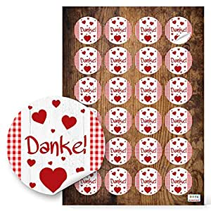 24 runde rot wei e herzen danke karierte aufkleber sticker 4 cm selbstklebend etiketten sticker. Black Bedroom Furniture Sets. Home Design Ideas