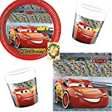 Cars 3 McQueen Party-Set 36tlg. Teller Becher Servietten für 8 Kinder