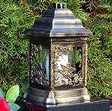 ♥ Grablaterne Grablampe mit Rose und Engel 26,0cm Bronze incl. Grabkerze Grablicht Grabschmuck Grabdekoration Grableuchte Laterne Kerze Lampe Licht