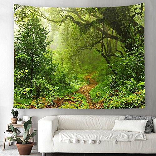 Grün Wald Dschungel Wandteppich Natur Landschaft Wandbehang Tapestry Tapisserie Dekotuch Wandtuch Tischdecke Strandtuch 230x150cm -