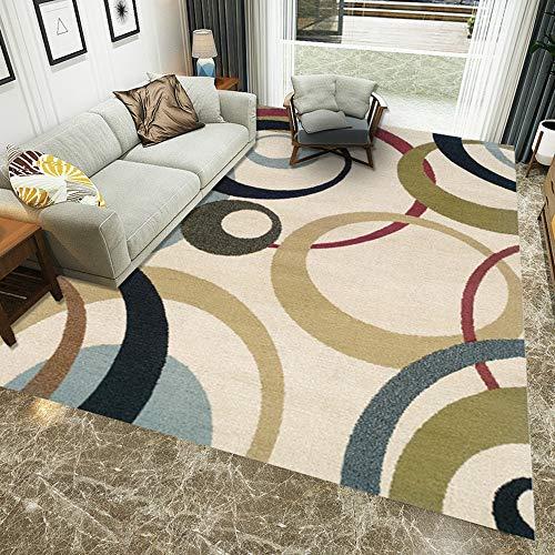 XDLUK Designer Teppich Kurzflor Europäisch Modern Wohnzimmer Schlafzimmer Waschbar Teppich mit Kreis Muster in Rot Gold Türkis Beige Grün,40x60cm -