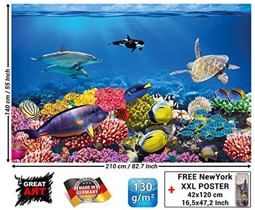 Fototapete - Aquarium - Wandbild Dekoration Farbenfrohe Unterwasserwelt Meeresbewohner Ozean Fische Delphin Korallen-Riff Clownfisch - Foto-Tapete Wandtapete Fotoposter Wanddeko (210x140 cm) -