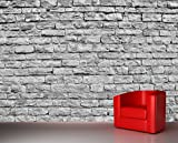 Selbstklebende Fototapete - Steinmauer II - Schwarz Weiss - 230x150 cm - Tapete mit Kleber – Wandtapete – Poster – Dekoration – Wandbild – Wandposter – Wand – Fotofolie – Bild – Wandbilder - Wanddeko