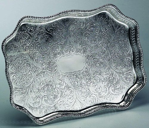 SERPENTINE GALLERY TRAY - SILVER PLATED SERPENTINE GALLERY TRAY by Elegance Silver -