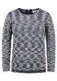 BlendShe Zoe Damen Winter Strickpullover Troyer Grobstrick Pullover mit Rundhalsausschnitt, Größe:XL, Farbe:Peacoat (24012)