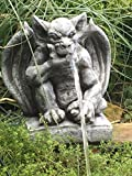 Wasserspeier Steinfigur Gargoyle Garten Deko Teich Fantasiefigur Gartenfigur