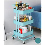 Storage Trolley Cart,3-Tier Storage Cart,Multi-Purpose Trolley Organizer Cart with Casters,Rolling Cart Metal Utility…