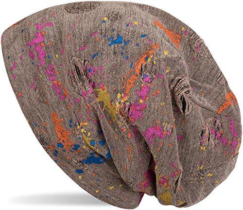 styleBREAKER styleBREAKER Beanie Mütze mit Splat Style Farbklecks Muster im Used Look Vintage Design, Slouch Longbeanie, Unisex 04024118, Farbe:Braun