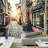 VVNASD 3D Aufkleber Wand Tapete Wandbilder Dekorationen Europäischer Retro Stadtstreetscape Kaffee Wohnzimmer Hintergrund Kunst Mädchen Küche (W) 250X(H) 175Cm