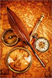 Posterlounge Leinwandbild 80 x 120 cm: Kompass und Uhr von Editors Choice - fertiges Wandbild, Bild auf Keilrahmen, Fertigbild auf Echter Leinwand, Leinwanddruck