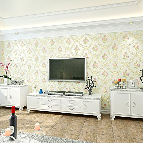 Damaskus, 8 (Reyqing Im Europäischen Stil Stereoskopischen 3D-Wohnzimmer Tv Hintergrund Wand Tapete In Damaskus, 8-0103 Hellgrün, Tapeten Nur)