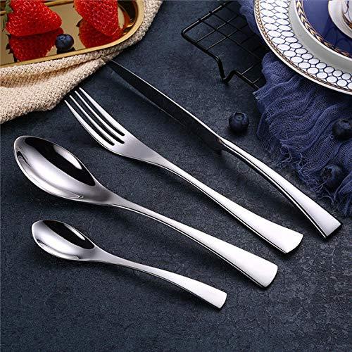 Ninnn set di posate servire coltelli cucchiaini da caffè forchette per spaghetti cucchiaio forchetta set posate nero in acciaio inox set posate portatile contenitore per argento alimentare