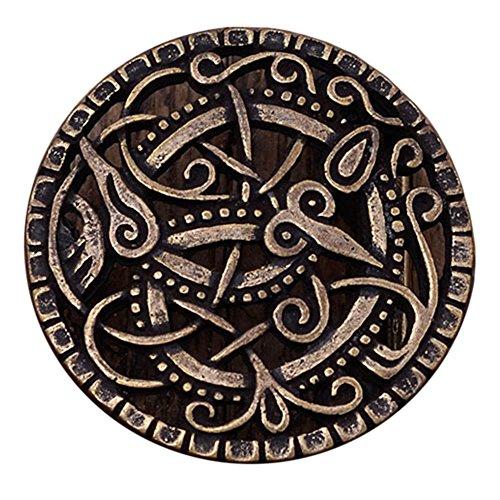 Gürtelschnalle nach Vorbild der Wikinger Pitney-Brosche für Gürtel bis 3 cm Breite Silber oder Bronze LARP Mittelalter Wikinger (Bronze) -
