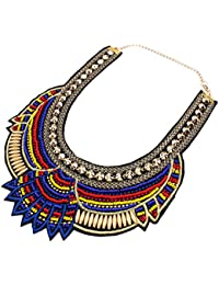 La Vogue Collier Plastron Femme Court Ras De Cou Clavicule Ethnique Multicolore Fantaisie Perles