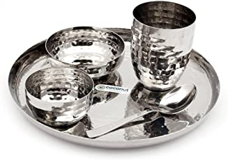 Coconut Hammered Stainless Steel Dinner Set, 5-Pieces, Silver