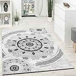 Alfombra mandalas de hilo brillante en blanco y negro tamaño:120x160 cm