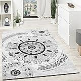 Paco Home Designer Teppich Mit Glitzergarn Kurzflor Gemustert Grau Schwarz Anthrazit Weiß, Grösse:120x160 cm