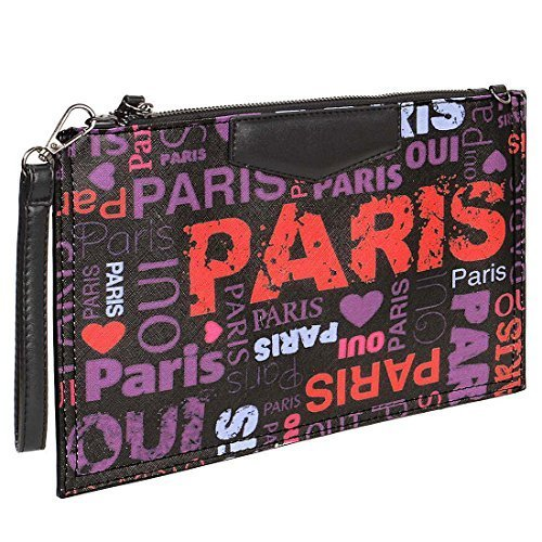 BMC Damen Gemischt Muster Design Ultra-dünn Mode Handtasche Clutch - Synthetik, Oui Oui Paris, Damen, Medium, (Paris Modeschmuck)