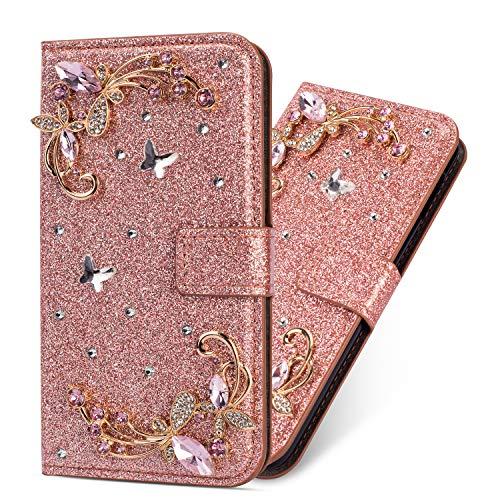 Miagon Hülle Glitzer für Galaxy J5 2017,Luxus Diamant Strass Blume PU Leder Handyhülle Ständer Funktion Schutzhülle Brieftasche Cover für Samsung Galaxy J5 2017,Roségold