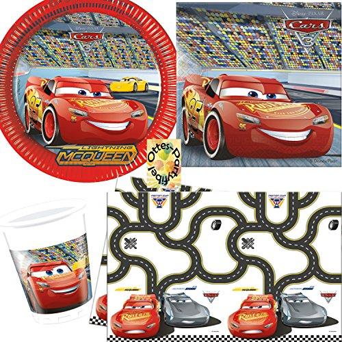 Cars 3 McQueen Partyset 53tlg. Teller Becher Servietten Tischdecke für 16 Kinder