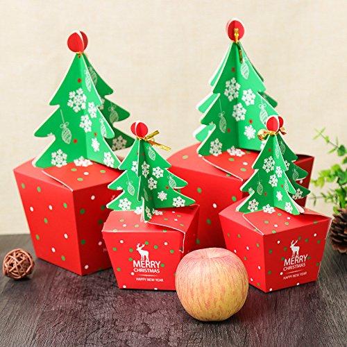 n 2018 Paper Gift Box Candy Box Fit Hochzeits-Party Weihnachtsbaummuster Schmuck Verpackung Box ()