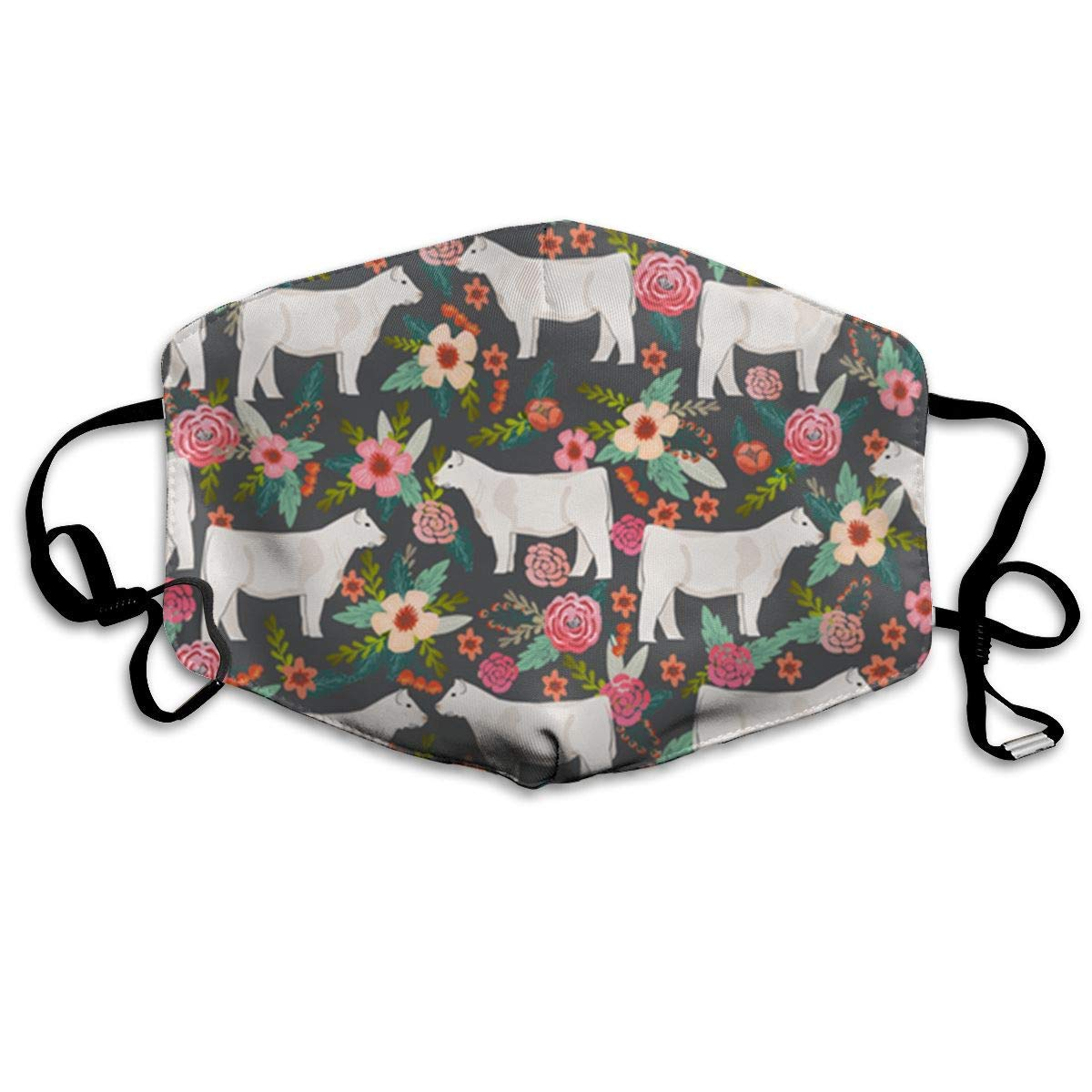 Daawqee Mascarillas, Charolais Cattle Fabric Cows Florals Far Breathe Healthy Face Mask for Dust, Allergy & Flu; Adjustable Ear Loops, Washable Antimicrobial