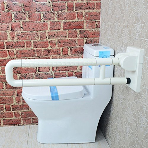 Barras de seguridad Más grueso Barrera libre de brazos plegables Ancianos Handrail minusválidos Toilet Toilet Bathroom Nylon Handrail ( Color : Blanco )