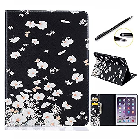 iPad Pro 9.7 Case, Lotuslnn Apple iPad Pro 9.7 2017 Slim Leather Wallet Book Cover with Stand Feature, Credit Card, and ID Holders - White Flower