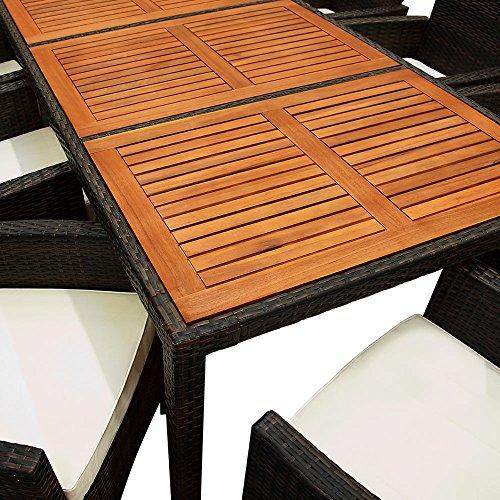 Deuba Poly Rattan Sitzgruppe 8+1 braun | 7cm dicke Sitzauflagen | Tischplatte aus Akazienholz | wetterbeständiges Polyrattan [ Modellauswahl 4+1/6+1/8+1 ] - Gartenmöbel Gartenset Sitzgarnitur Set - 6