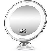 BEAUTURAL Grossissant Miroir Maquillage 10x avec Lumières LED 1 Joint à Bille d'attache Ajustable à 360° Miroir…