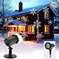 LED Xmas Landscape Christmas Projector,Snowflake Lamp Waterproof Spotlight White Light Moving Lighting Outdoor Indoor for Christmas Halloween Garden Party Holiday Wedding House Home Wall Decoration by CM-Light