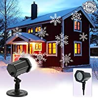 LED Christmas Landscape Xmas Projector,Snowflake Lamp Waterproof Spotlight White Light Moving Lighting Outdoor Indoor for Garden Party Holiday Wedding House Home Wall Decoration