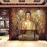 LHBHX Papier Peint 3D Mur Art Autocollant (W) 450X (H) 300Cm Statue De Bouddha Tridimensionnelle Statue De Bouddha Doré Religion 3D Murale Chambre D'Enfants Papier Peint Salon Chambre À Coucher Tv F