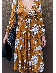 Europa de Alta Ventas Oto?o de Las Mujeres 'ropa de S Profunda V Mangas Largas Bohemia Vestido,Amarillo,XL