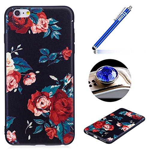 Coque pour iPhone 6 Plus/6S Plus Coque en Siliocne,iPhone 6 Plus Etui Coque Rose Romantique Élégant Fleur Motif,ETSUE iPhone 6 Plus Silicone Coque Luxueux Scintiller Bling Doux Coque Transparent Houss Roses Rouge