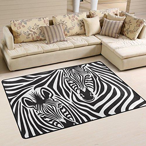 yibaihe leicht, Bereich Teppich Teppich dekorativen modernes Animal Print Zebra Paar wasserabweisend farbbeständige für Wohnzimmer Schlafzimmer, 183 x 122 cm -