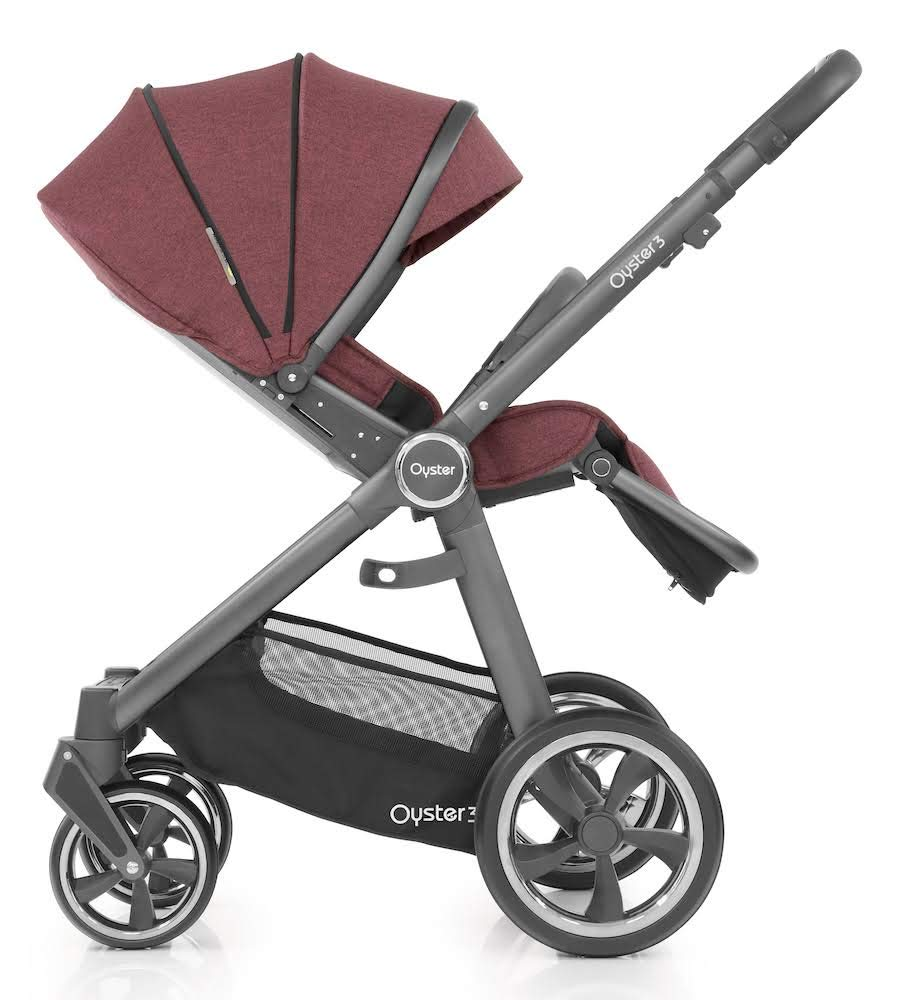 Babystyle Oyster 3 Pushchair in Berry with City Grey Chassis & Raincover Babystyle Multi position, lie-flat seat unit (rear or forward facing) from birth. Lightweight chassis and telescopic handle design with 4 adjustable positions. Swivel front wheels with one click locking mechanism. 4