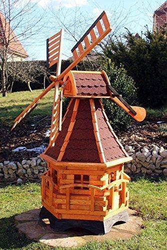 Große Windmühle mit Windschwert und Solar Typ 20 (Rot)