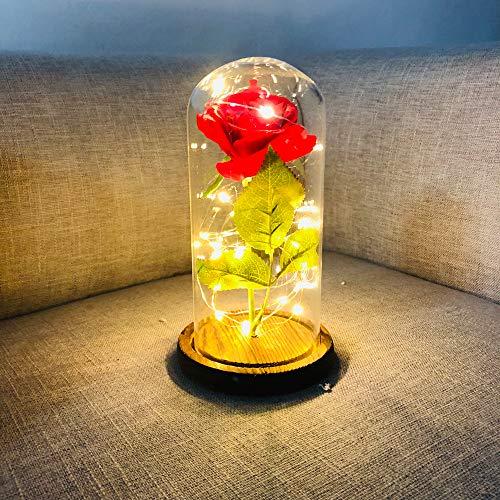 omantisch Rose Blumen Die Schöne und das Biest Rose Kit Nachtlampe Party Hochzeit Dekor Geburtstagsgeschenk ()