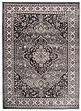 Traditioneller Klassischer Teppich für Ihre Wohnzimmer - Grau Schwarz Creme - Perser Orientalisches Heriz Keshan Muster - Blumen Ornamente - Top Qualität Pflegeleicht