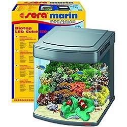 sera 31099 marin Biotop LED Cube 130 ein 130 l Meerwasser-Komplettaquarium mit LED Beleuchtung und Filtration